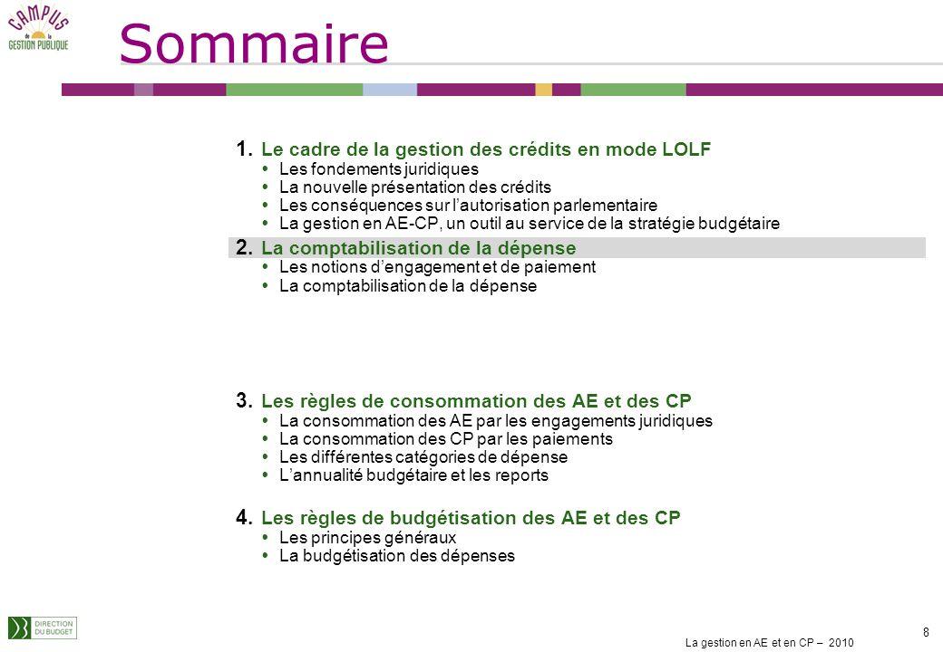 La gestion en AE et en CP – 2010 18 Les CP sont consommés au fur et à mesure des paiements Cest le paiement et non la demande de paiement qui consomme les CP.