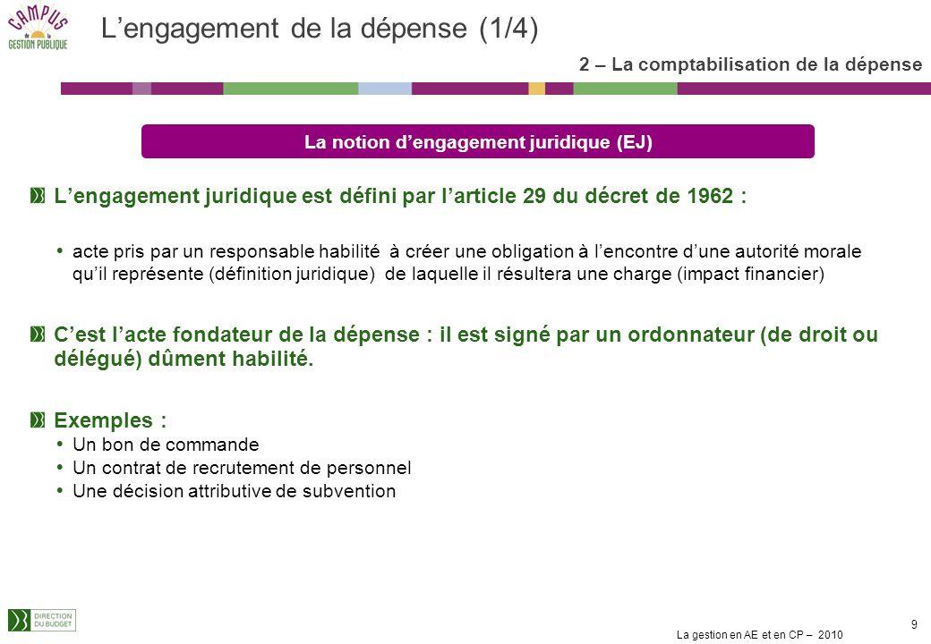 La gestion en AE et en CP – 2010 8 1. Le cadre de la gestion des crédits en mode LOLF Les fondements juridiques La nouvelle présentation des crédits L
