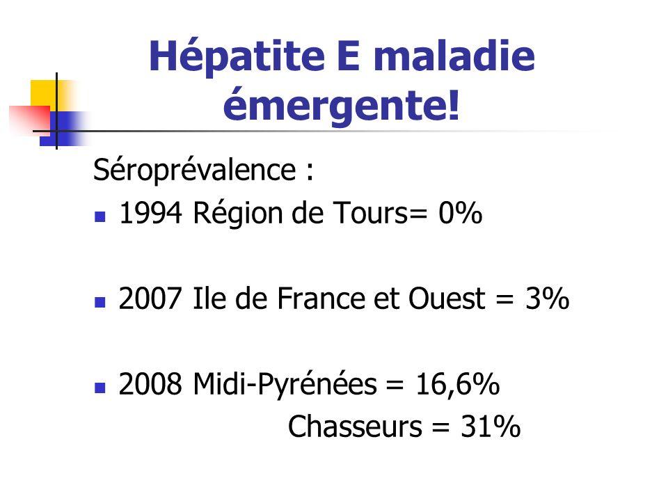 Hépatite E maladie émergente! Séroprévalence : 1994 Région de Tours= 0% 2007 Ile de France et Ouest = 3% 2008 Midi-Pyrénées = 16,6% Chasseurs = 31%
