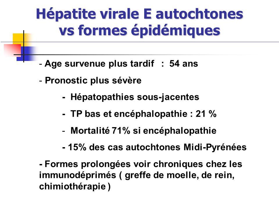 Hépatite virale E autochtones vs formes épidémiques Hépatite virale E autochtones vs formes épidémiques - Age survenue plus tardif : 54 ans - Pronosti
