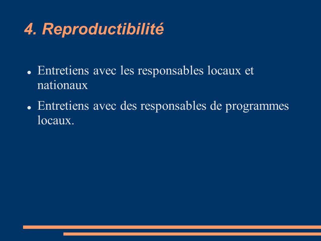 4. Reproductibilité Entretiens avec les responsables locaux et nationaux Entretiens avec des responsables de programmes locaux.