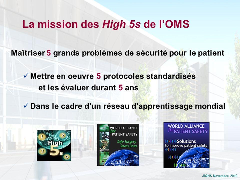 JIQHS Novembre 2010 La mission des High 5s de lOMS Maîtriser 5 grands problèmes de sécurité pour le patient Mettre en oeuvre 5 protocoles standardisés