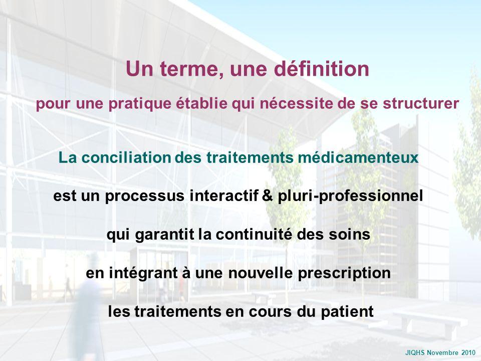 JIQHS Novembre 2010 La conciliation des traitements médicamenteux est un processus interactif & pluri-professionnel qui garantit la continuité des soi