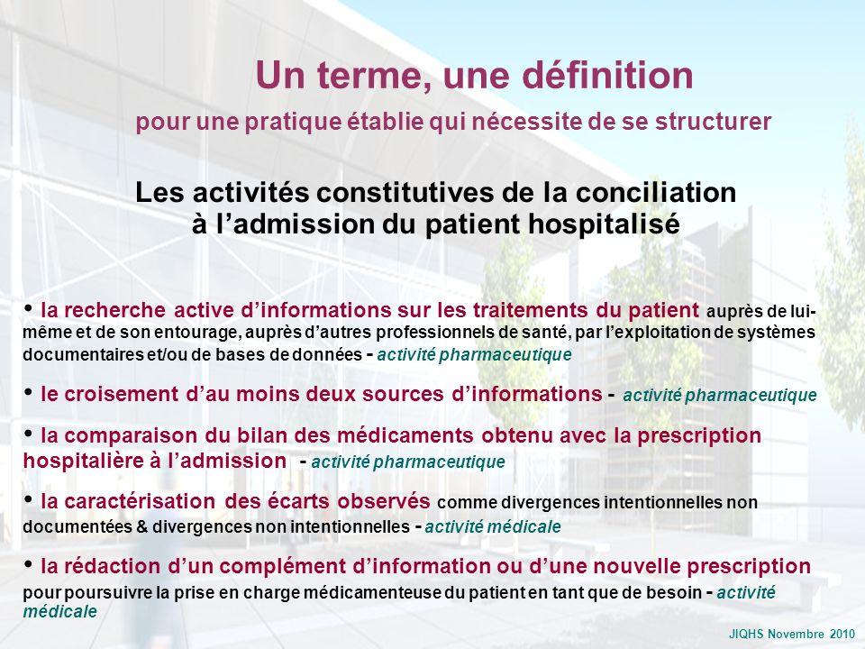 JIQHS Novembre 2010 Les activités constitutives de la conciliation à ladmission du patient hospitalisé la recherche active dinformations sur les trait