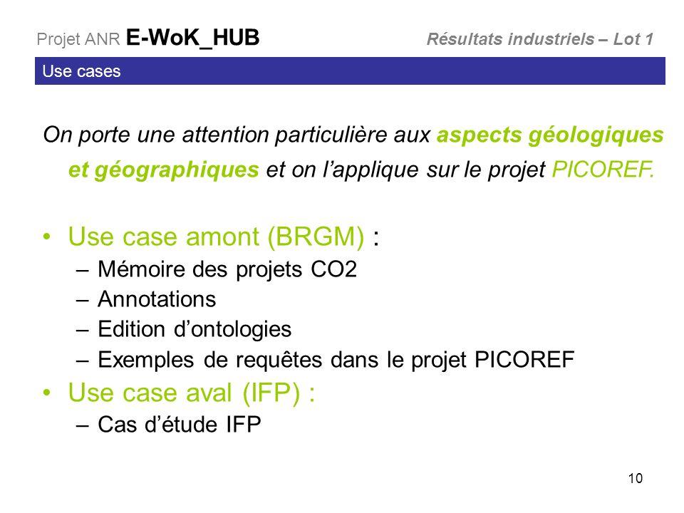 10 Use cases On porte une attention particulière aux aspects géologiques et géographiques et on lapplique sur le projet PICOREF. Use case amont (BRGM)