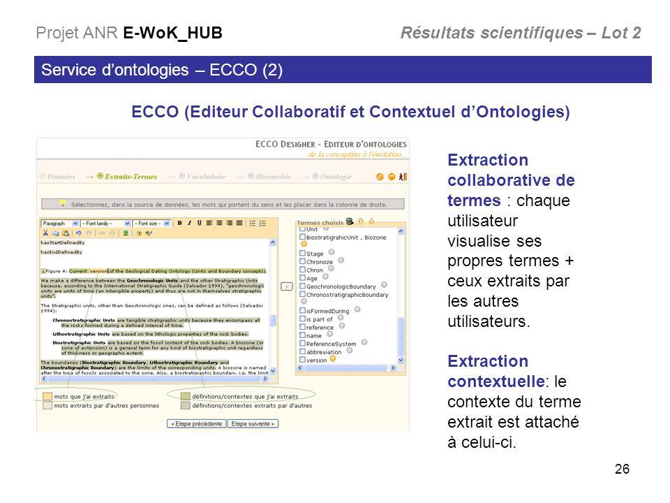 26 Service dontologies – ECCO (2) Projet ANR E-WoK_HUB Résultats scientifiques – Lot 2 ECCO (Editeur Collaboratif et Contextuel dOntologies) Extractio