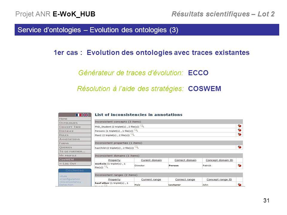 31 Service dontologies – Evolution des ontologies (3) Projet ANR E-WoK_HUB Résultats scientifiques – Lot 2 1er cas : Evolution des ontologies avec traces existantes Générateur de traces dévolution: ECCO Résolution à laide des stratégies: COSWEM