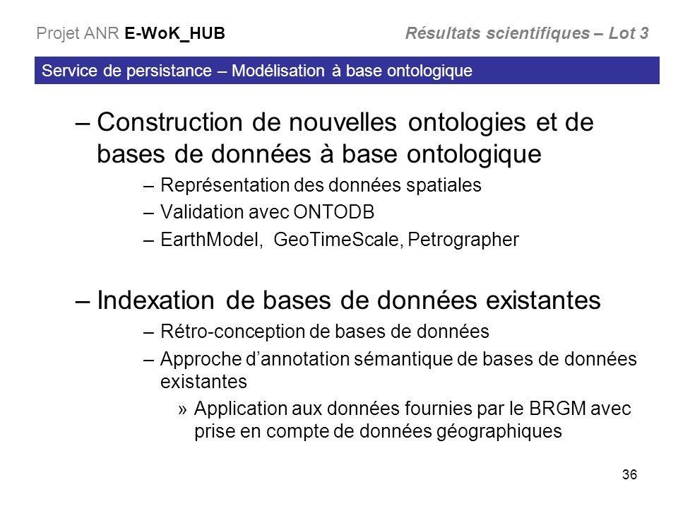 36 –Construction de nouvelles ontologies et de bases de données à base ontologique –Représentation des données spatiales –Validation avec ONTODB –Eart