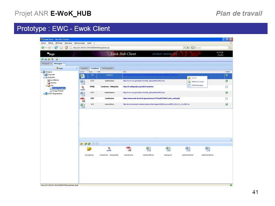 41 Prototype : EWC - Ewok Client Projet ANR E-WoK_HUB Plan de travail
