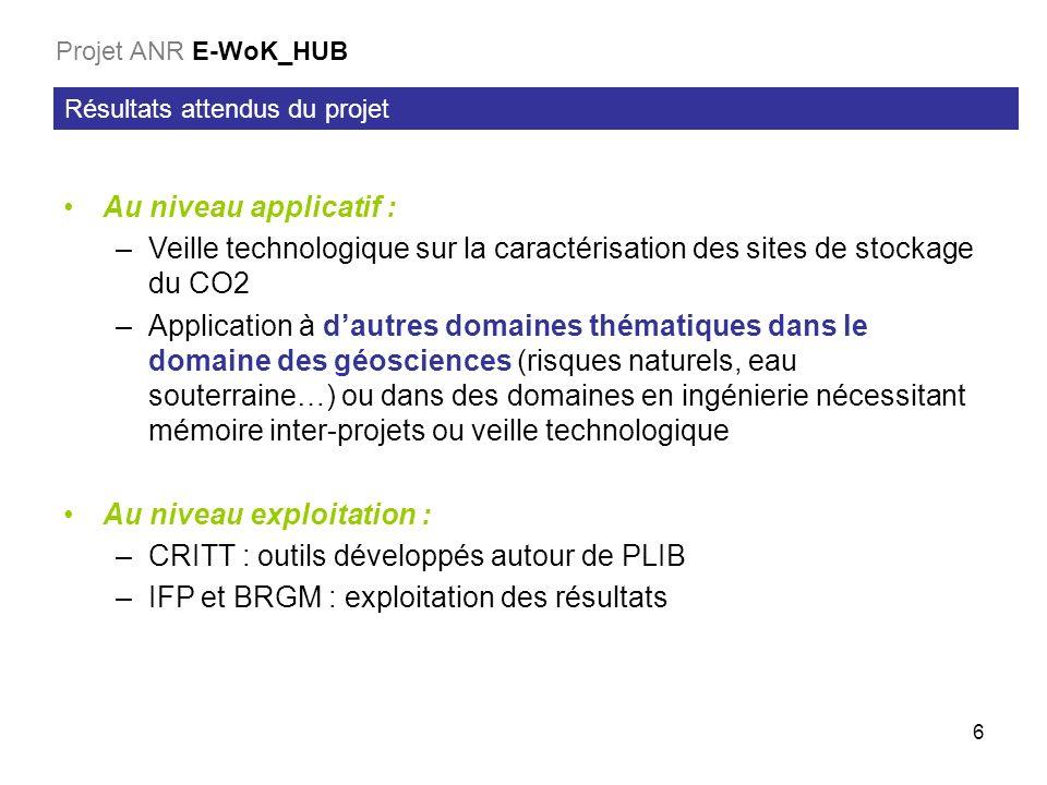 6 Résultats attendus du projet Projet ANR E-WoK_HUB Au niveau applicatif : –Veille technologique sur la caractérisation des sites de stockage du CO2 –