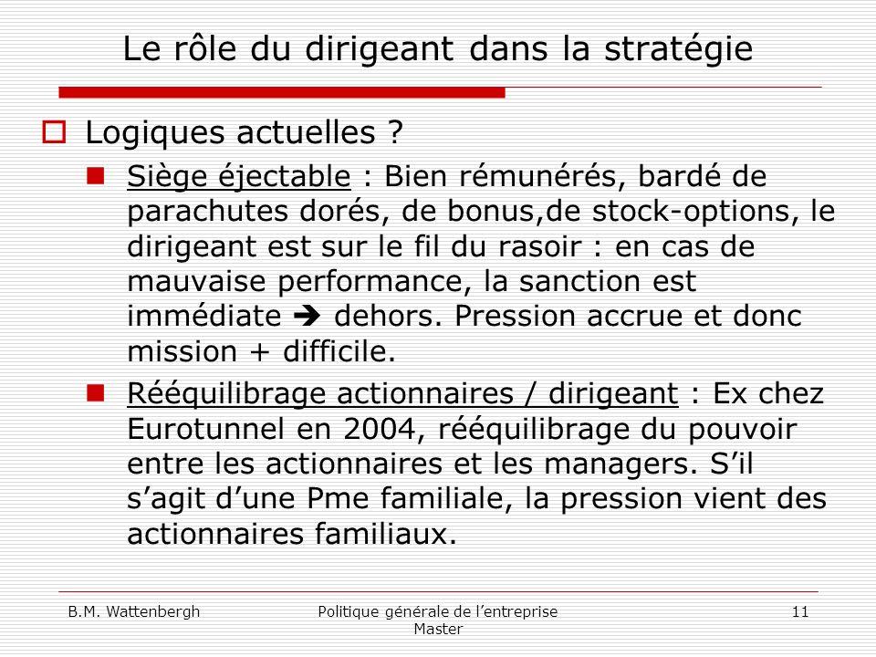 B.M. WattenberghPolitique générale de lentreprise Master 11 Le rôle du dirigeant dans la stratégie Logiques actuelles ? Siège éjectable : Bien rémunér