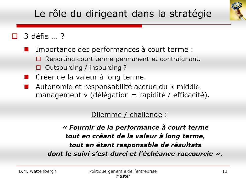 B.M. WattenberghPolitique générale de lentreprise Master 13 Le rôle du dirigeant dans la stratégie 3 défis … ? Importance des performances à court ter