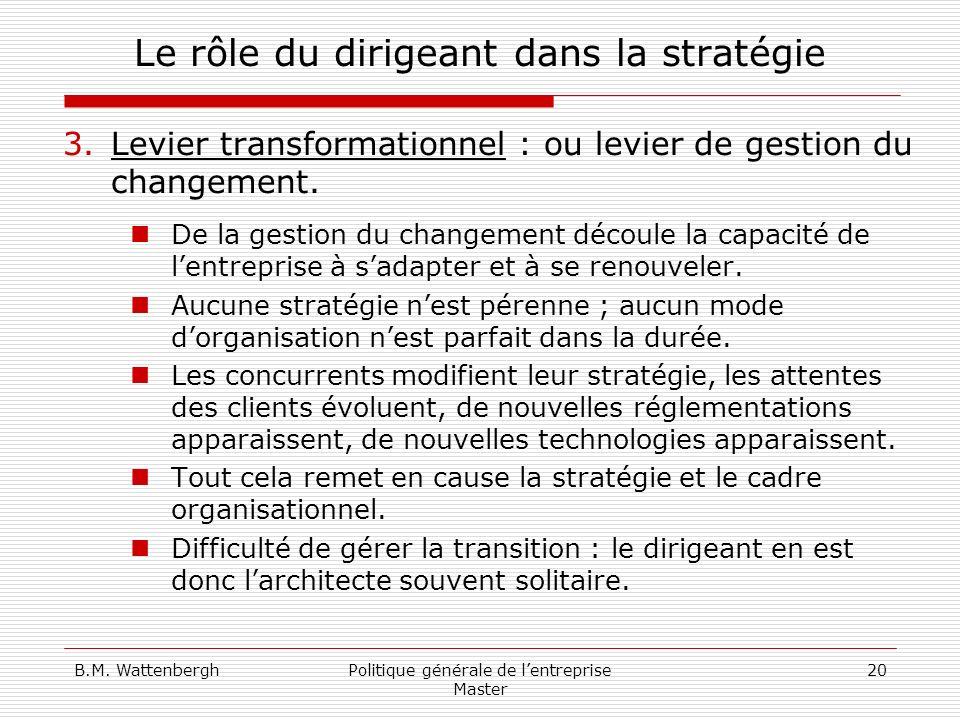 B.M. WattenberghPolitique générale de lentreprise Master 20 Le rôle du dirigeant dans la stratégie 3.Levier transformationnel : ou levier de gestion d