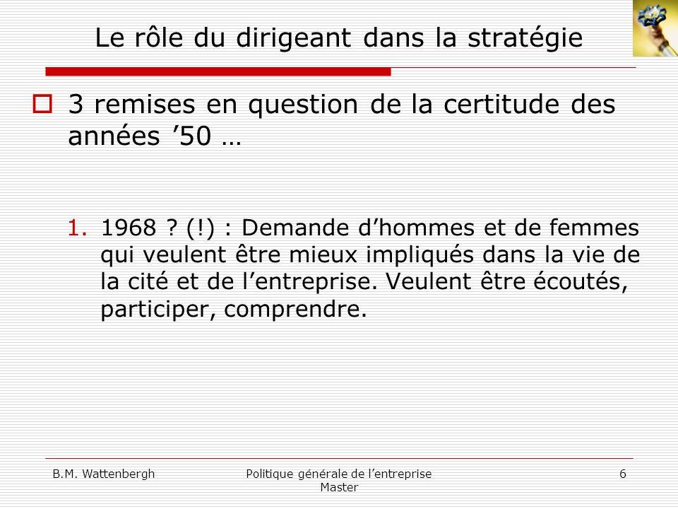 B.M. WattenberghPolitique générale de lentreprise Master 6 Le rôle du dirigeant dans la stratégie 3 remises en question de la certitude des années 50