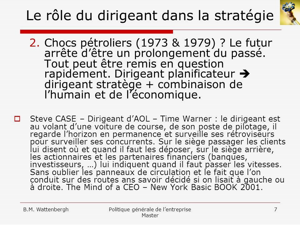 B.M. WattenberghPolitique générale de lentreprise Master 7 Le rôle du dirigeant dans la stratégie 2.Chocs pétroliers (1973 & 1979) ? Le futur arrête d
