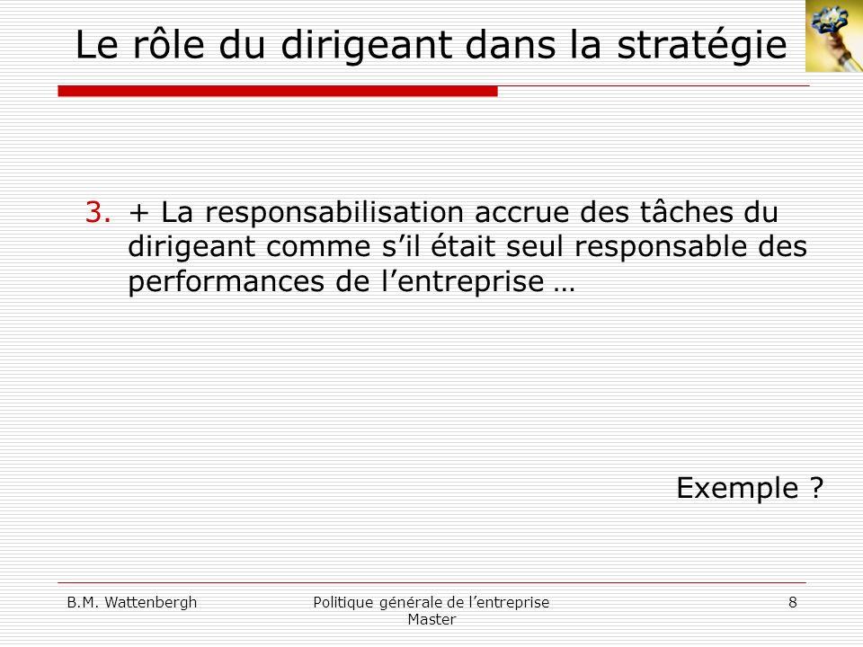 B.M. WattenberghPolitique générale de lentreprise Master 8 Le rôle du dirigeant dans la stratégie 3.+ La responsabilisation accrue des tâches du dirig