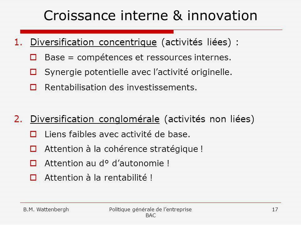 B.M. WattenberghPolitique générale de lentreprise BAC 17 Croissance interne & innovation 1.Diversification concentrique (activités liées) : Base = com