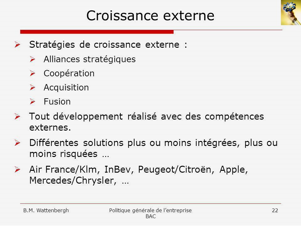B.M. WattenberghPolitique générale de lentreprise BAC 22 Croissance externe Stratégies de croissance externe : Alliances stratégiques Coopération Acqu