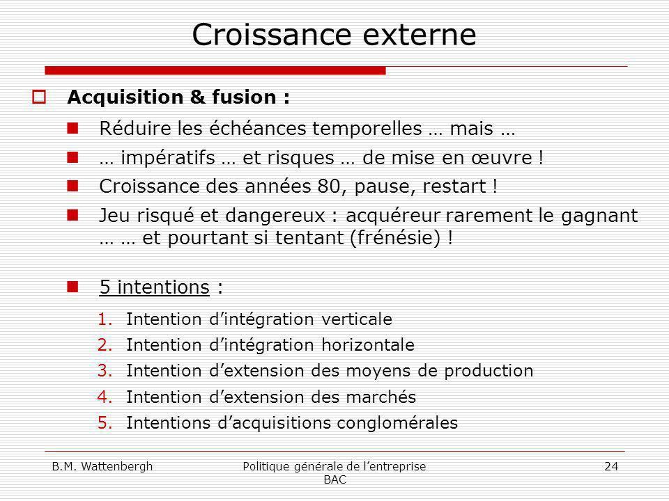 B.M. WattenberghPolitique générale de lentreprise BAC 24 Croissance externe Acquisition & fusion : Réduire les échéances temporelles … mais … … impéra