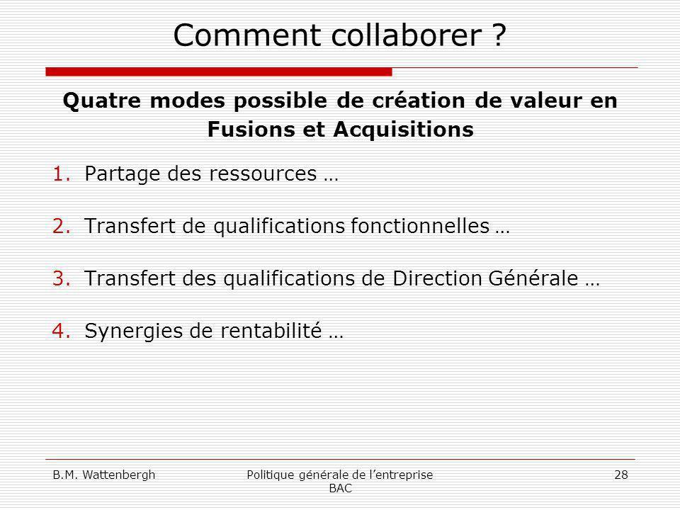 B.M. WattenberghPolitique générale de lentreprise BAC 28 Comment collaborer ? Quatre modes possible de création de valeur en Fusions et Acquisitions 1
