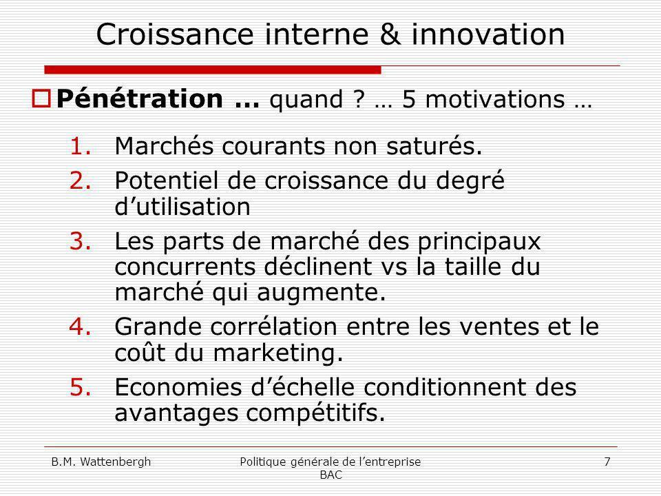 B.M. WattenberghPolitique générale de lentreprise BAC 7 Croissance interne & innovation Pénétration … quand ? … 5 motivations … 1.Marchés courants non