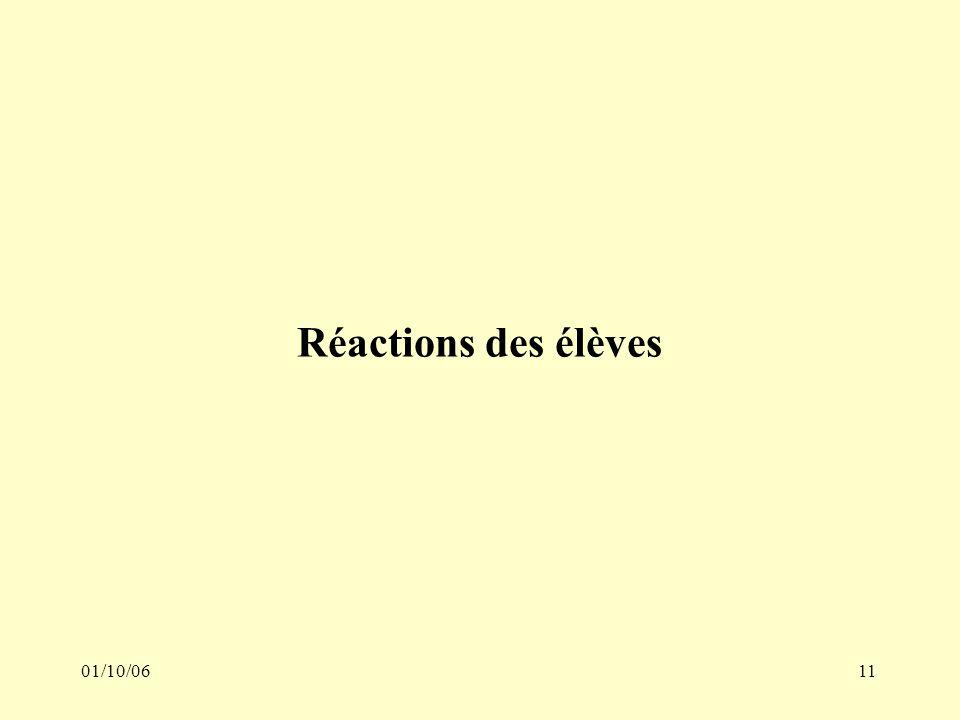 01/10/0611 Réactions des élèves