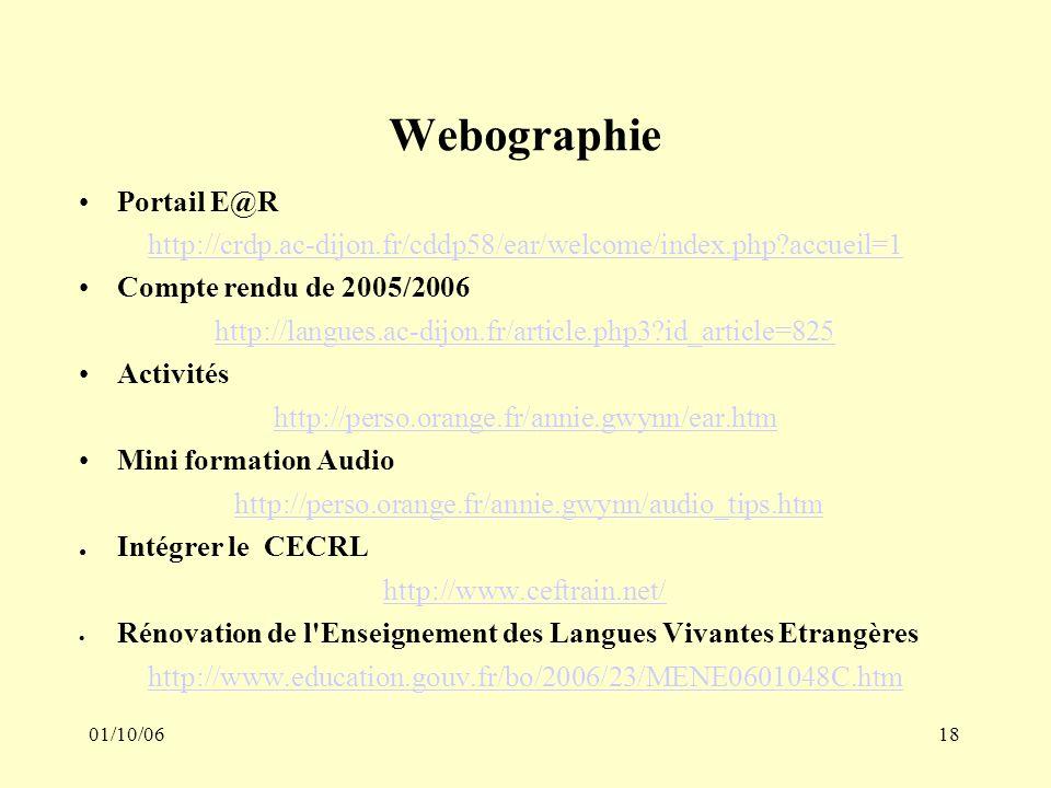 01/10/0618 Webographie Portail E@R http://crdp.ac-dijon.fr/cddp58/ear/welcome/index.php?accueil=1 Compte rendu de 2005/2006 http://langues.ac-dijon.fr/article.php3?id_article=825 Activités http://perso.orange.fr/annie.gwynn/ear.htm Mini formation Audio http://perso.orange.fr/annie.gwynn/audio_tips.htm Intégrer le CECRL http://www.ceftrain.net/ Rénovation de l Enseignement des Langues Vivantes Etrangères http://www.education.gouv.fr/bo/2006/23/MENE0601048C.htm
