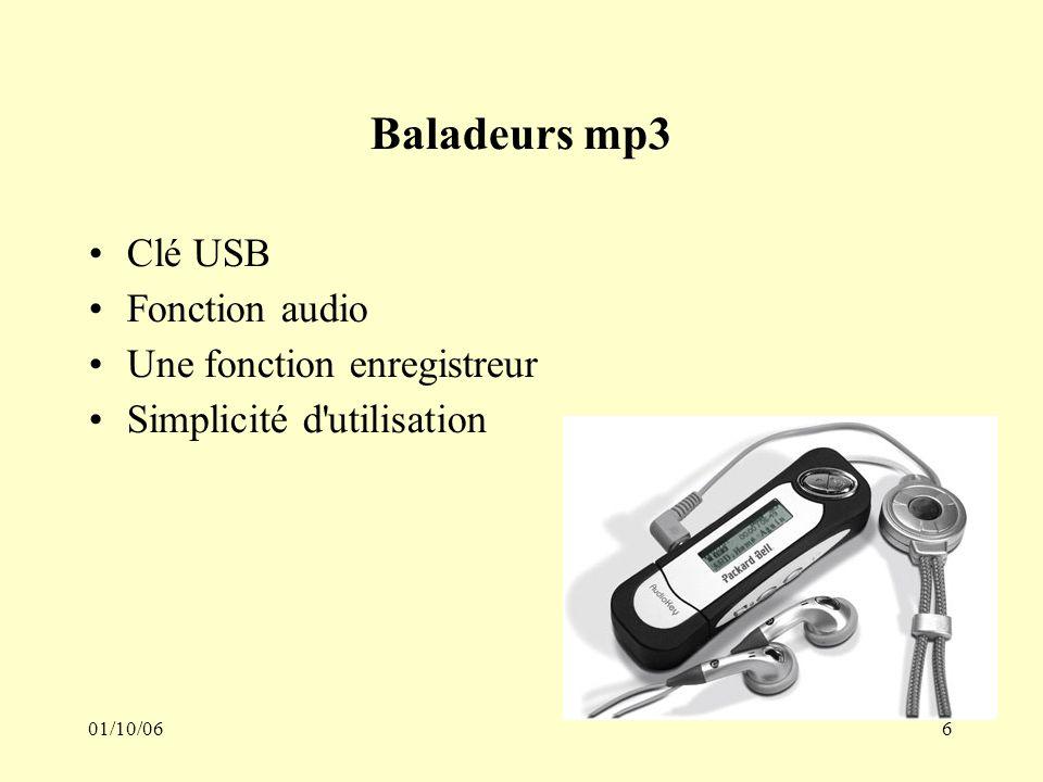 01/10/066 Baladeurs mp3 Clé USB Fonction audio Une fonction enregistreur Simplicité d utilisation