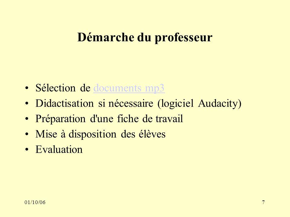01/10/067 Démarche du professeur Sélection de documents mp3documents mp3 Didactisation si nécessaire (logiciel Audacity) Préparation d une fiche de travail Mise à disposition des élèves Evaluation