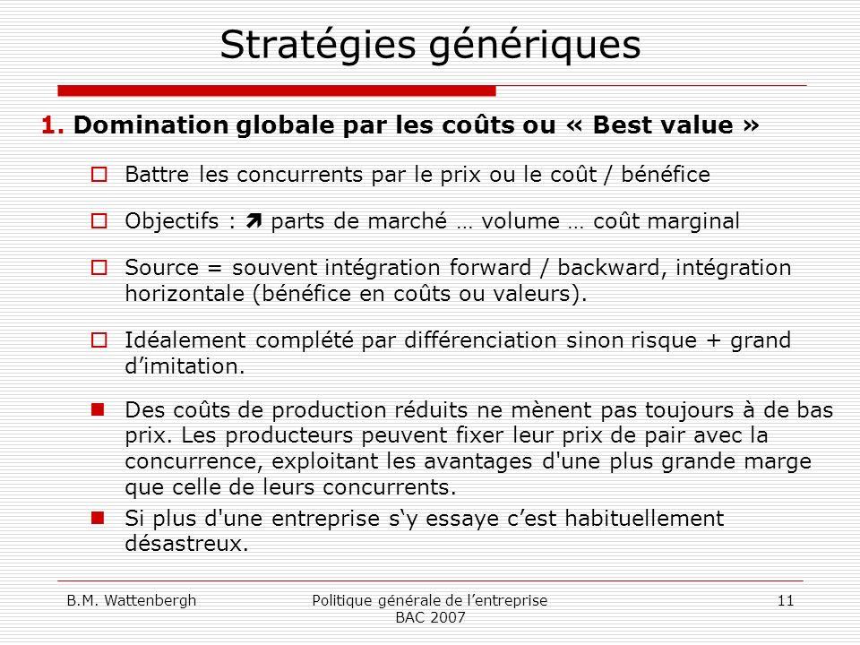 B.M. WattenberghPolitique générale de lentreprise BAC 2007 11 Stratégies génériques 1.Domination globale par les coûts ou « Best value » Battre les co