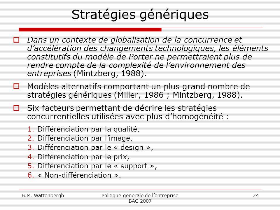 B.M. WattenberghPolitique générale de lentreprise BAC 2007 24 Stratégies génériques Dans un contexte de globalisation de la concurrence et daccélérati