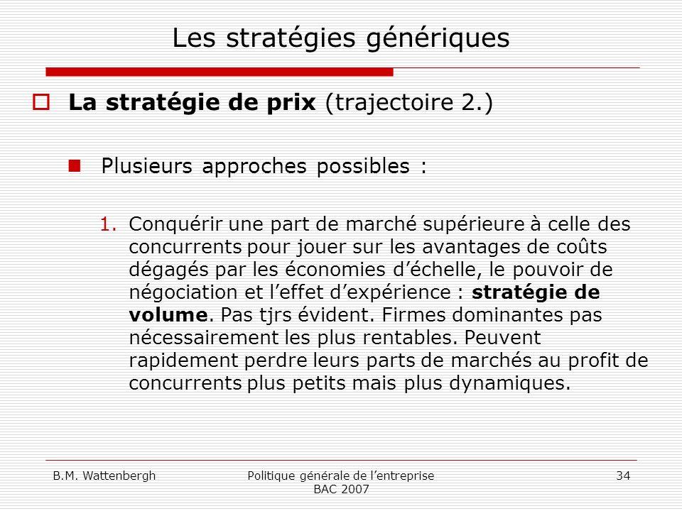 B.M. WattenberghPolitique générale de lentreprise BAC 2007 34 Les stratégies génériques La stratégie de prix (trajectoire 2.) Plusieurs approches poss