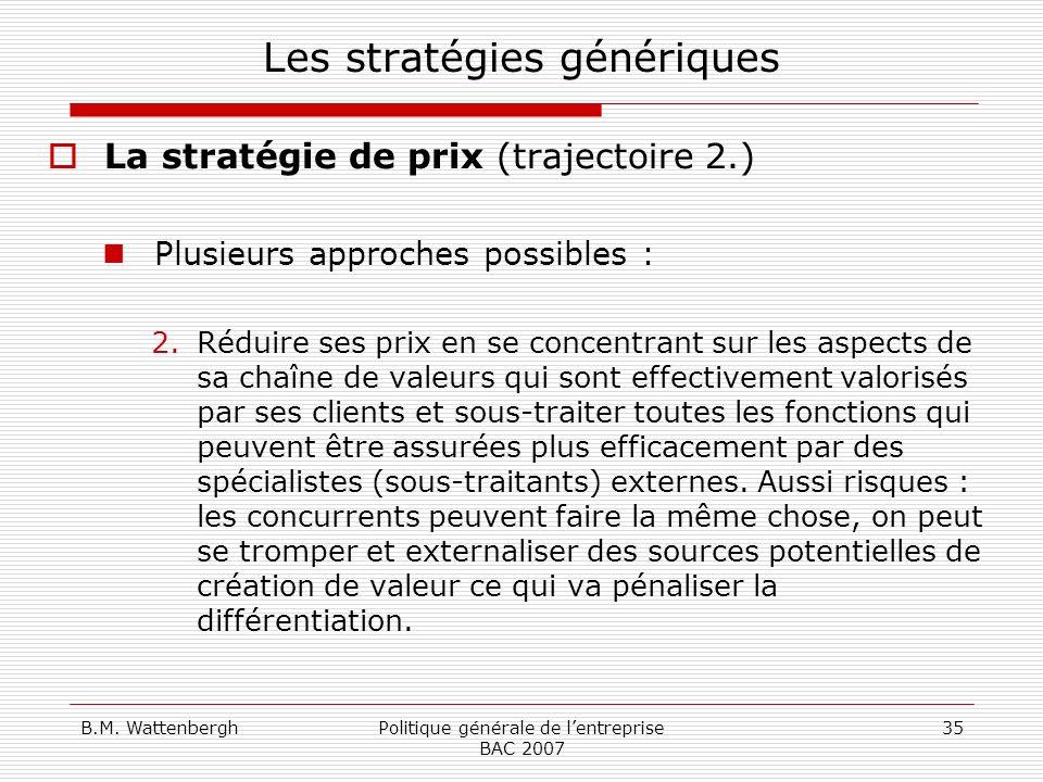 B.M. WattenberghPolitique générale de lentreprise BAC 2007 35 Les stratégies génériques La stratégie de prix (trajectoire 2.) Plusieurs approches poss