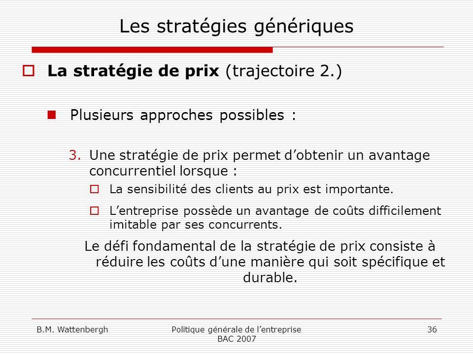 B.M. WattenberghPolitique générale de lentreprise BAC 2007 36 Les stratégies génériques La stratégie de prix (trajectoire 2.) Plusieurs approches poss