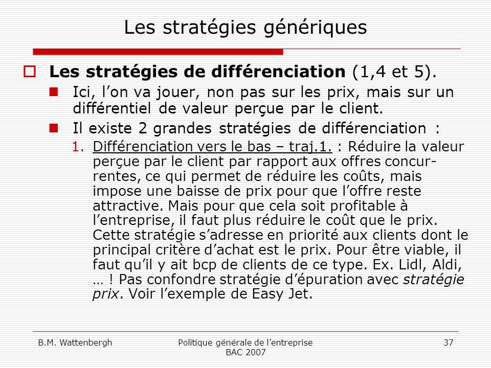 B.M. WattenberghPolitique générale de lentreprise BAC 2007 37 Les stratégies génériques Les stratégies de différenciation (1,4 et 5). Ici, lon va joue