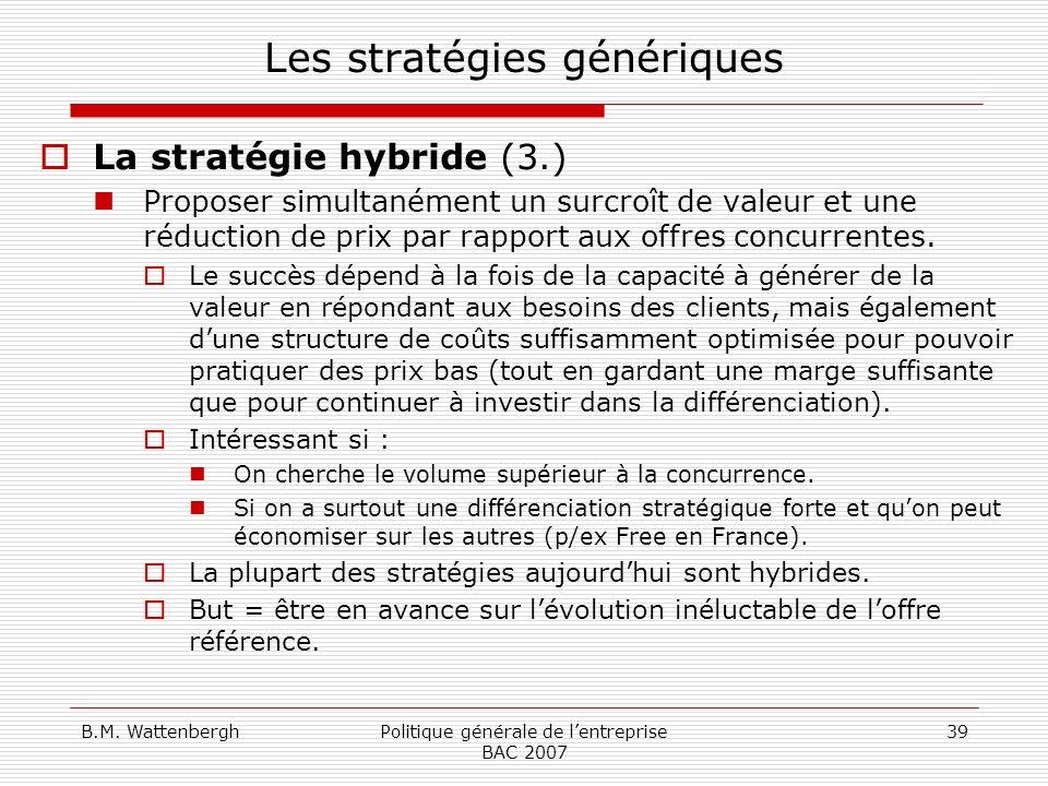 B.M. WattenberghPolitique générale de lentreprise BAC 2007 39 Les stratégies génériques La stratégie hybride (3.) Proposer simultanément un surcroît d