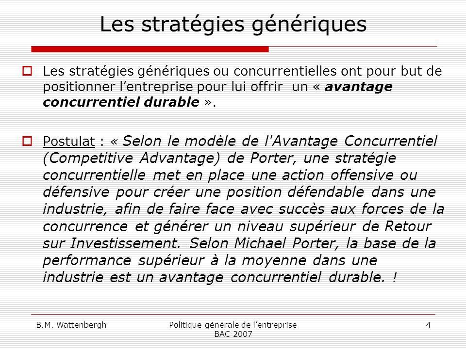 B.M. WattenberghPolitique générale de lentreprise BAC 2007 4 Les stratégies génériques Les stratégies génériques ou concurrentielles ont pour but de p