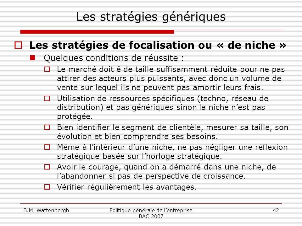 B.M. WattenberghPolitique générale de lentreprise BAC 2007 42 Les stratégies génériques Les stratégies de focalisation ou « de niche » Quelques condit