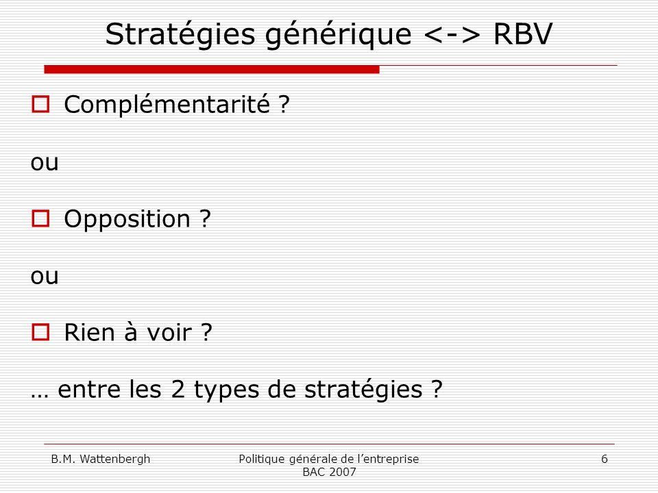 B.M. WattenberghPolitique générale de lentreprise BAC 2007 6 Stratégies générique RBV Complémentarité ? ou Opposition ? ou Rien à voir ? … entre les 2