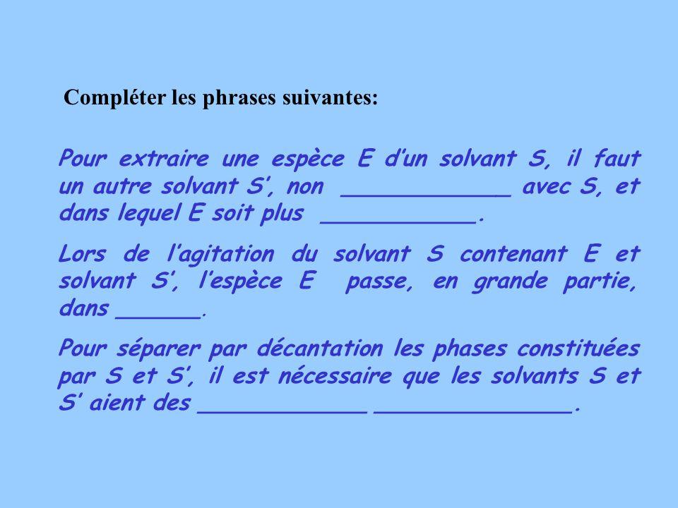 Compléter les phrases suivantes: Pour extraire une espèce E dun solvant S, il faut un autre solvant S, non ____________ avec S, et dans lequel E soit