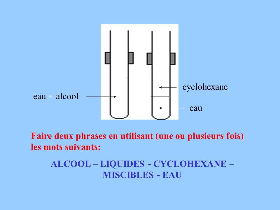 eau + alcool eau cyclohexane Faire deux phrases en utilisant (une ou plusieurs fois) les mots suivants: ALCOOL – LIQUIDES - CYCLOHEXANE – MISCIBLES -