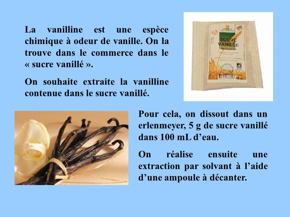 La vanilline est une espèce chimique à odeur de vanille. On la trouve dans le commerce dans le « sucre vanillé ». On souhaite extraite la vanilline co