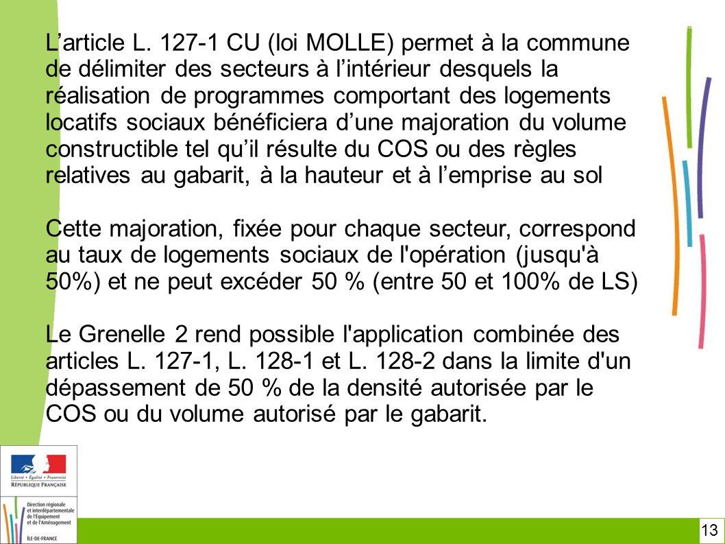 13 Larticle L. 127-1 CU (loi MOLLE) permet à la commune de délimiter des secteurs à lintérieur desquels la réalisation de programmes comportant des lo