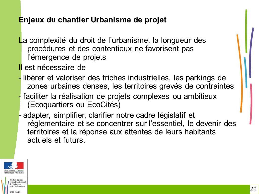 22 Enjeux du chantier Urbanisme de projet La complexité du droit de lurbanisme, la longueur des procédures et des contentieux ne favorisent pas lémerg