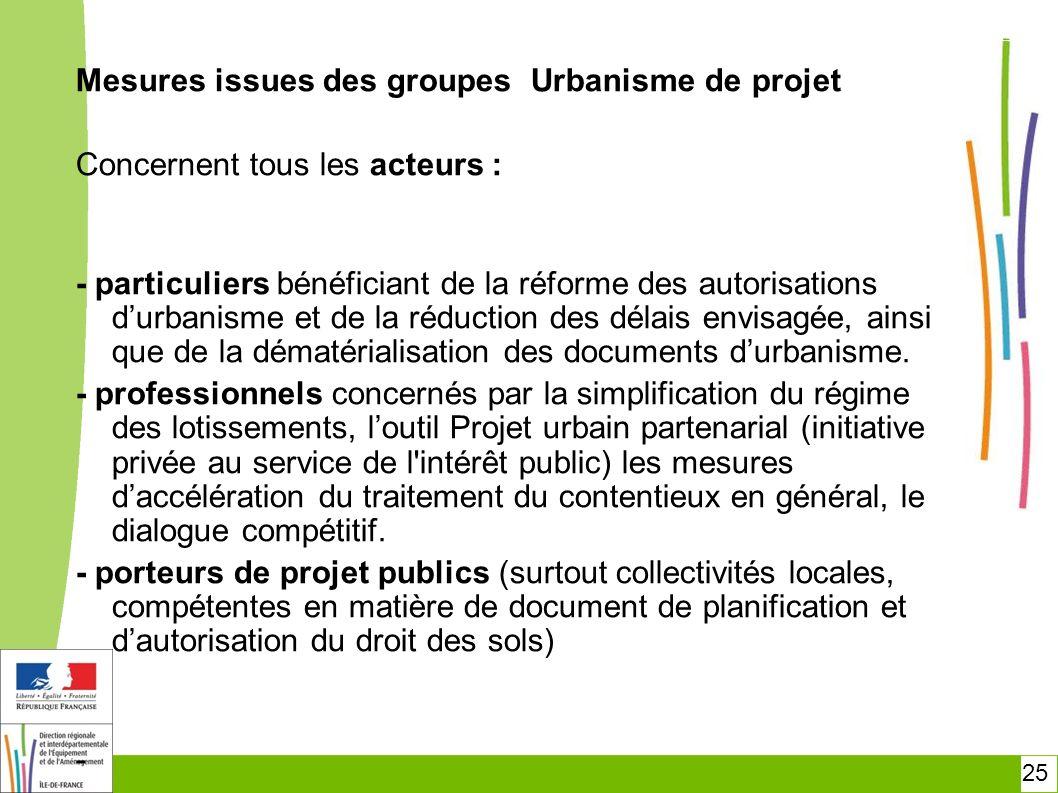 25 Mesures issues des groupes Urbanisme de projet Concernent tous les acteurs : - particuliers bénéficiant de la réforme des autorisations durbanisme