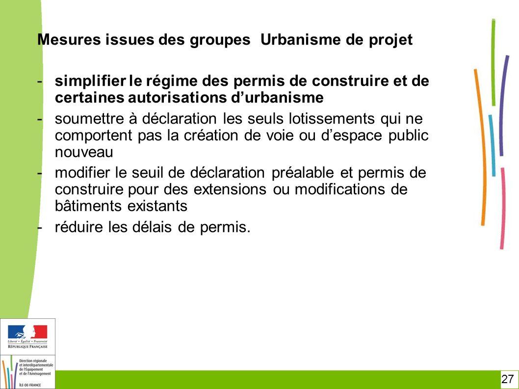 27 Mesures issues des groupes Urbanisme de projet -simplifier le régime des permis de construire et de certaines autorisations durbanisme -soumettre à