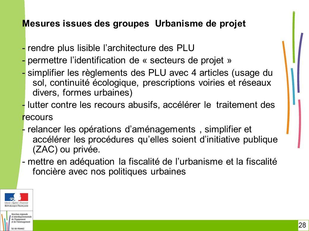 28 Mesures issues des groupes Urbanisme de projet - rendre plus lisible larchitecture des PLU - permettre lidentification de « secteurs de projet » -