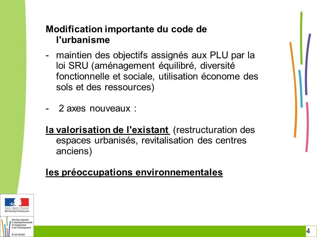 4 Modification importante du code de l'urbanisme -maintien des objectifs assignés aux PLU par la loi SRU (aménagement équilibré, diversité fonctionnel