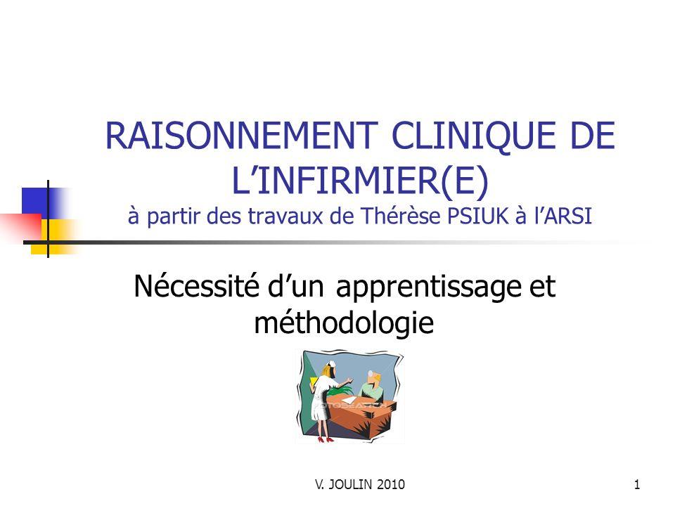 V. JOULIN 20101 RAISONNEMENT CLINIQUE DE LINFIRMIER(E) à partir des travaux de Thérèse PSIUK à lARSI Nécessité dun apprentissage et méthodologie
