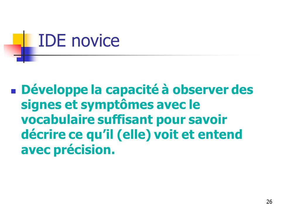 26 IDE novice Développe la capacité à observer des signes et symptômes avec le vocabulaire suffisant pour savoir décrire ce quil (elle) voit et entend